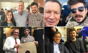 Composite of Lee Glendinning with Jeb Bush and Adam Gabbatt, John Kasich with Adam Gabbatt, Rick Santorum with Adam Gabbatt and Jim Gillmore with Adam Gabbatt