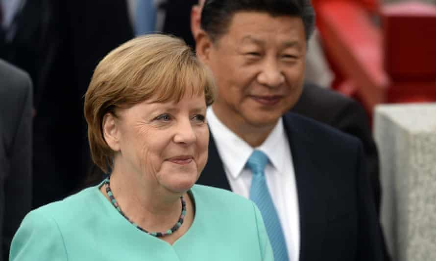 Angela Merkel and Xi Jinping in Berlin. Summit may not be China's time to fill US shoes - but the moment is coming.