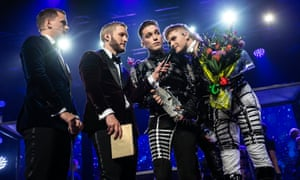 Hatari's Klemens Hannigan (right) and Matthías Tryggvi Haraldsson (second from right) at the Söngvakeppnin finals in March.