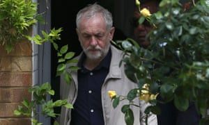 Jeremy Corbyn leaving his home in London last week. He was said to have suffered a 'wobble' over continuing by some sources.