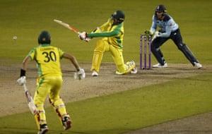 Australia's Mitchell Starc hits the winning shot.