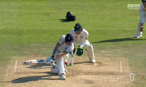 Ben Stokes survives a LBW shout after the Australia team had used up all their reviews.