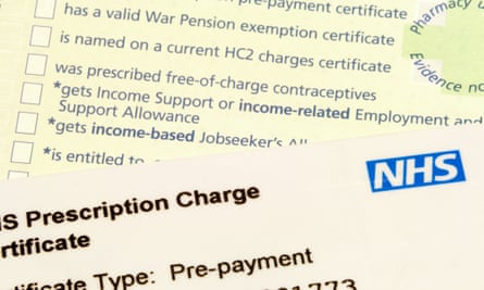 NHS pre-payment prescription charge card with a prescription in the background.