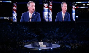 John Kasich addresses the annual policy conference of the American Israel Public Affairs Committee (Aipac) in Washington, DC.