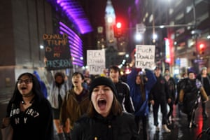 Samantha Conors, 24, marches with demonstrators in Philadelphia, Pennsylvania