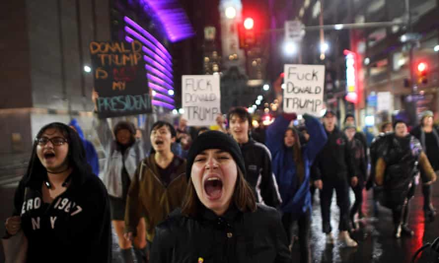 Samantha Conors, 24, marches with demonstrators against Donald Trump in Philadelphia.