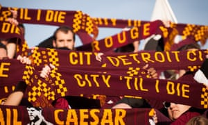 Detroit City FC scarves. The club was founded in 2012, and attendances have trebled in three years.
