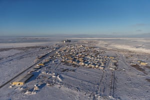 Aerial view of Churchill, Manitoba, Canada.