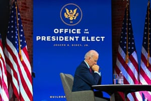 Joe Biden participates in a virtual meeting with the United States Conference of Mayors at the Queen in Wilmington, Delaware on 23 November 2020