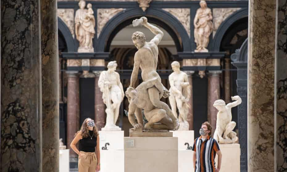Staff among the V&A exhibits as it prepared to reopen to the public in early August.
