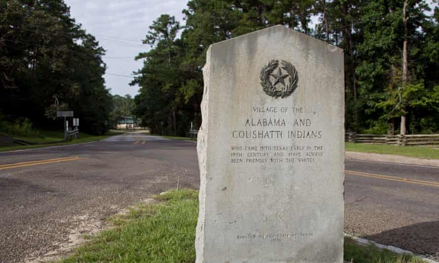 Sign outside the village of the Alabama-Coushutta tribe in East Texas.