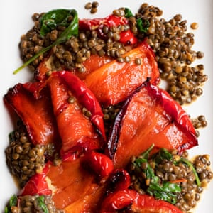 Peppers with a dressing of their roasting juices, lentils and basil.