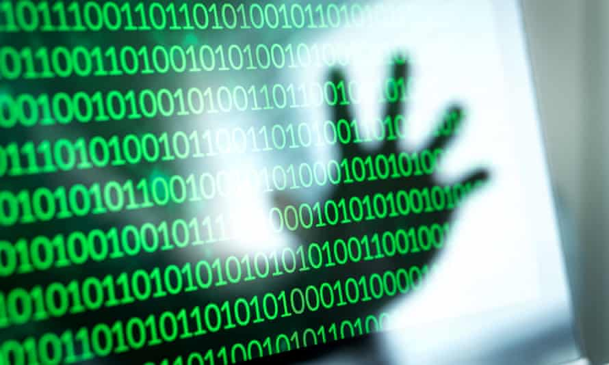 Binary numbers, zero and one on laptop screen