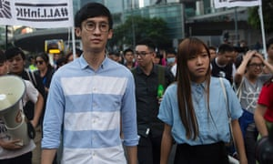 Baggio Leung (left) and Yau Wai-ching during a protest march.
