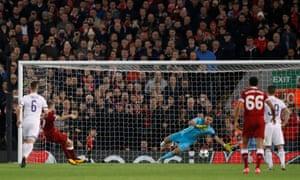Maribor's Jasmin Handanovic saves the penalty from Liverpool's James Milner.