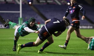 Hamish Watson on his way to scoring the opening try for Edinburgh against Newcastle.