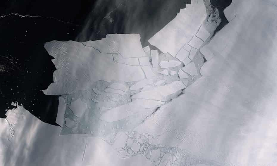 An iceberg cleaves from Antarctica's Pine Island glacier in February 2020.