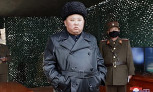 North Korea's leader, Kim Jong-un inspects military launches on 2 March.
