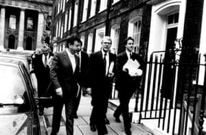 David Cameron with prime minister John Major and team, March 1992