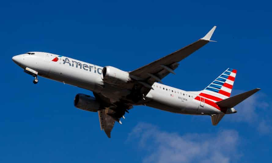 An American Airlines Boeing 737 Max 8.