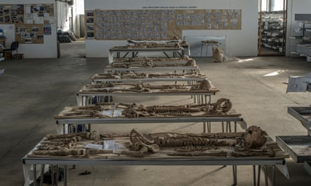 The remains of people massacred during the Bosnian war are laid out on tables at the Krajina Identification Project in Sanski Most.