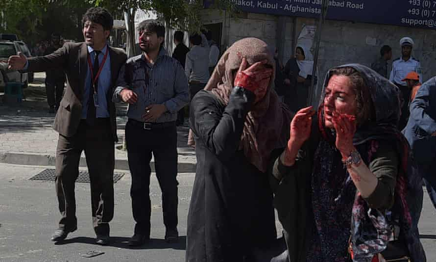People wounded in the bomb blast in Kabul on 31 May.