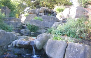 The Cascades in Battersea Park, complete with Pulhamite rocks