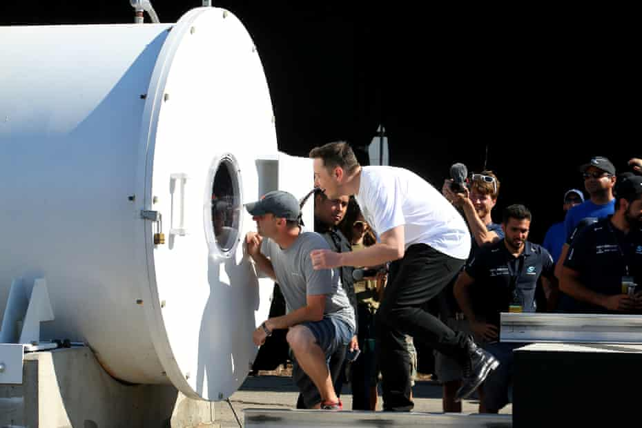 Elon Musk at SpaceX Hyperloop Pod II competition in Hawthorne, California.