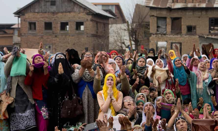 Kashmiri Muslim women praying at Hazratbal Shrine on the outskirts of Srinagar