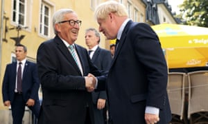 Boris Johnson meets with the president of the EU commission, Jean-Claude Juncker, in Luxembourg.