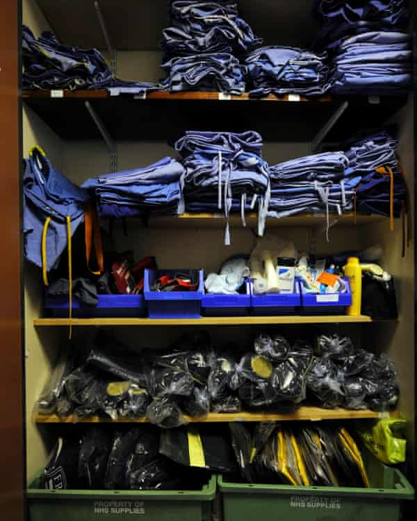 A cupboard full of clean clothes for victims at the Haven, King's College hospital's rape crisis care centre.