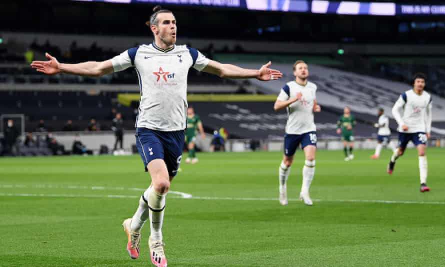 Gareth Bale celebrates after scoring his and Tottenham's second goal in their 4-0 win over Sheffield United.