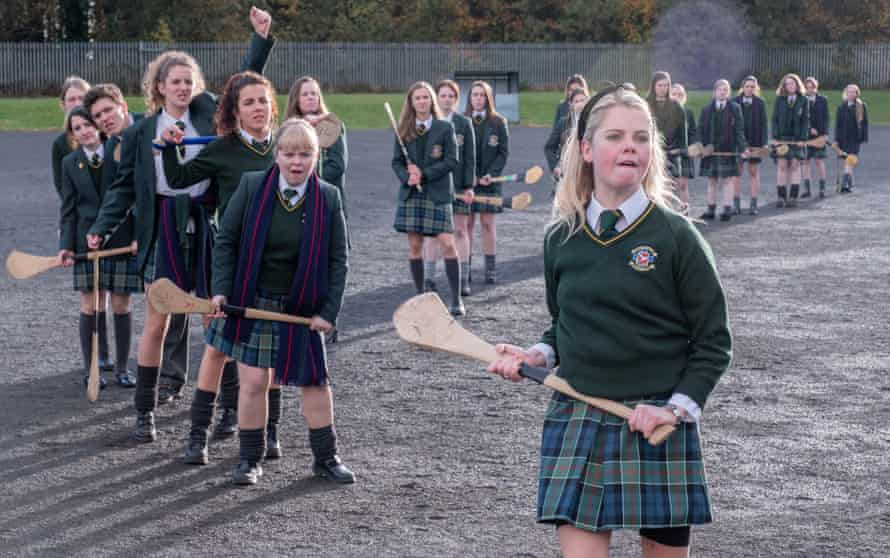 Front to back:-Erin Quinn (Saoirse Monica Jackson), Clare Devlin (Nicola Coughlan), Michelle Mallon (Jamie-Lee O'Donnell), Orla McCool (Louisa Clare Harland), James Maguire (Dylan Llewellyn) in a still from the TV series Derry Girls
