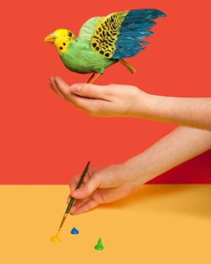 A person painting a sparrow, from photographer Olivia Locher's I Fought the Law series