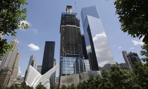 3 World Trade Center, center, has reached its full height of 80 stories.