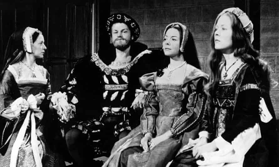 The Six Wives of Henry VIII, 1971, with, from left, Anne Stallybrass, Keith Michell, Dorothy Tutin and Annette Crosbie. The first episode, which was scripted by Rosemary Anne Sisson, brought a Bafta for Crosbie as Catherine of Aragon.