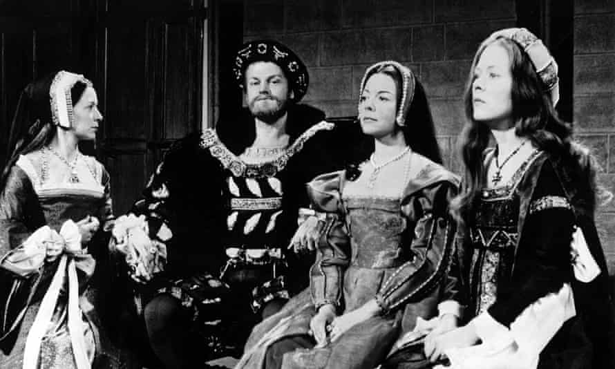 Anne Stallybrass as Jane Seymour, far left, with, from left, Keith Michell, Dorothy Tutin and Annette Crosbie in The Six Wives of Henry VIII, 1970.