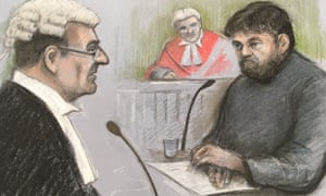 A sketch showing Carl Beech being questioned in court