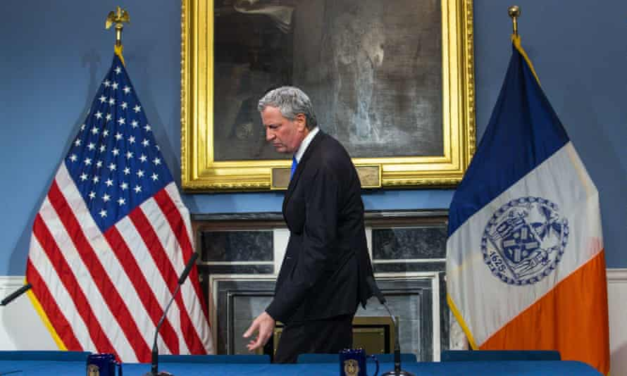 New York City's mayor, Bill de Blasio, arrives at a press conference at city hall on 3 January.