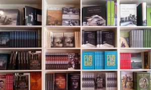 Books on the shelves at the shop and offices of Lilliput Press, Dublin