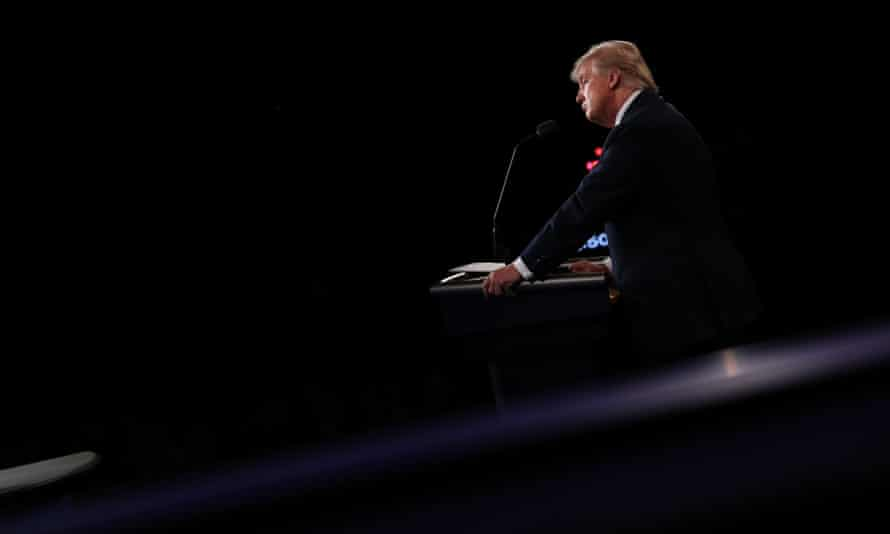 Donald Trump on stage during the final debate.