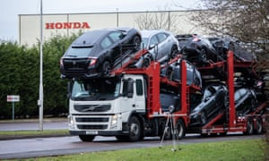 A lorry with car carrier trailer leaves the Honda car plant in Swindon, Britain, February 18, 2019.