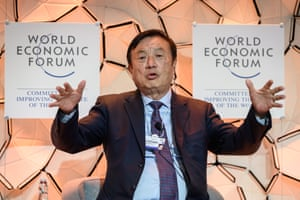 Huawei CEO Ren Zhengfei attends a session at the Congress Centre