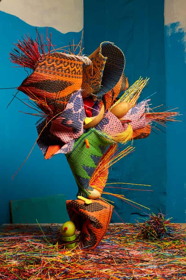 One trader's sculptural display of mats.