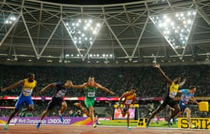 Jamaica's Omar McLeod crosses the line to take gold in the men's 110m hurdles.