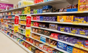 Chocolates and sweets on shelves in a supermarket
