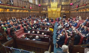 Peers in the House of Lords vote on a customs union amendment.