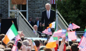 Joe Biden prepares to deliver a keynote speech in the grounds of Dublin Castle as part of his six-day visit to Ireland in 2016.
