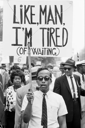 A protester at the March on Washington for Jobs and Freedom on 28 August 1963