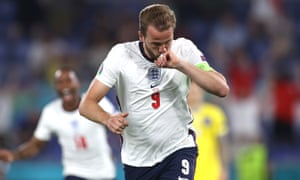 Harry Kane celebrates after scoring his second, and England's third goal.
